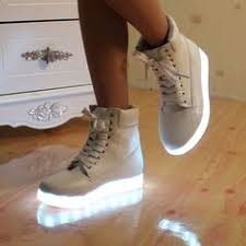 light shoes for women led light up midtop shoes white hightop sneaker with color changing