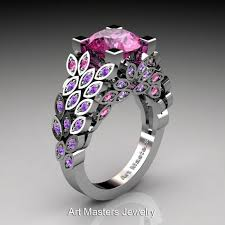 Amethyst Wedding Rings by Art Masters Nature Inspired 14k White Gold 3 0 Ct Pink Sapphire