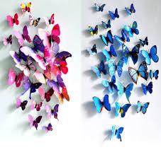 12pcs 3d butterfly wall sticker fridge magnet home decor art