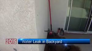 water leak in backyard youtube
