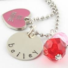 Personalized Charm Necklaces Personalized Hand Stamped Jewelry Engraved Kids Name And