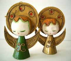 vintage christmas paper mache angel ornaments set of 2 paper