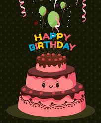 birthday banner stylized pink cake icon balloon decoration free