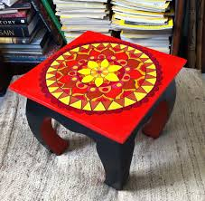 square wooden table hand painted furniture bohemian red