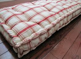 custom bench cushion red plaid window seat cushion french