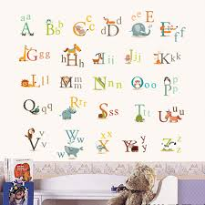 Letter Wall Decals For Nursery Animal Characters Letters Wall Sticker Nursery Room