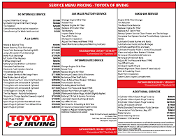 lexus grapevine service department service menu toyota of irving