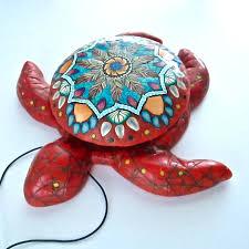 sea turtle box red coral box secret compartment box mandala
