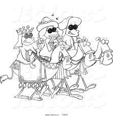 vector of cartoon three wise kids wearing shades and riding camels