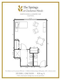floor plan studio senior apartment floor plans the springs at clackamas woods
