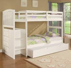 Wood White Bunk Bed With Trundle  Perfect White Bunk Bed With - Wooden bunk bed with trundle