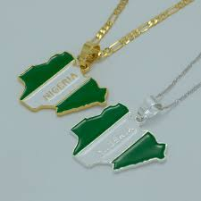 Nigerian Flag Nigeria Flag Map Pendant Necklaces For Women Men Gold Plated