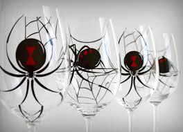 halloween wedding toasting glasses black widow spider glasses set of 4 hand painted halloween