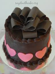 valentines chocolate s day chocolate cake with chocolate bow say it with cake