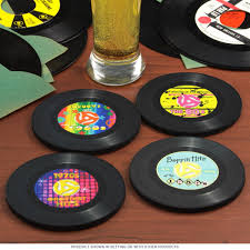 vinyl record rubber drink coasters set of 4 table coasters