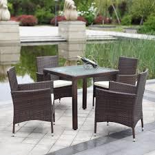 Patio Furniture Wicker - ikayaa us stock 5pcs font wicker rattan outdoor dinning table