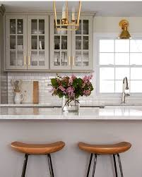 Countertop Stools Kitchen What A Beautiful And Warm Kitchen I Love The Gray Cabinets The