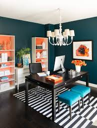 teal office home office transitional with teal paint modern