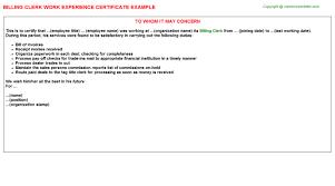 billing clerk work experience certificate