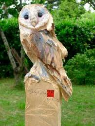 chainsaw carved owl ornamental garden patio feature sculpture