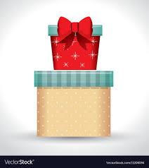 big present bow big gift box and small gift bow white vector image