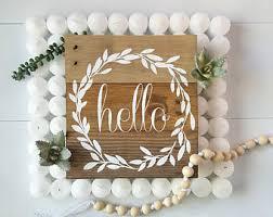 hello wreath sign etsy