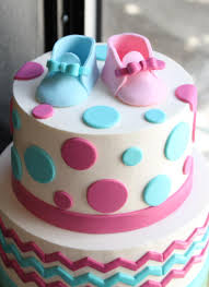chevron and dot gender reveal cake whipped bakeshop