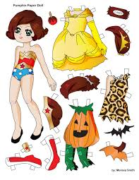 Halloween Printable Cutouts by Miss Missy Paper Dolls Pumpkin Paper Doll