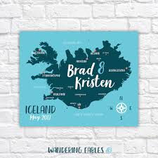 Arctic Circle Map Iceland Travel Map Personalized Gift Iceland Honeymoon Golden