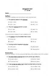 english worksheets 3rd grade grammar test