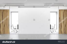 White Wall by Front View Blank White Wall Office Stock Illustration 420448270