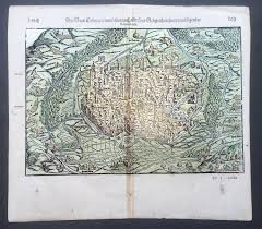 Map Of Ne 1588 Munster Antique Map View Of The City Of Colmar Alsace