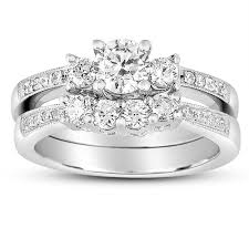 Wedding Ring Sets For Her by 2 Carat Round Diamond Antique Wedding Ring Set In White Gold For