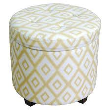 round tufted storage ottoman yellow white threshold target