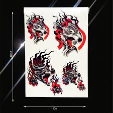 1pc cool men women body back art temporary tattoo bloody wolf paw