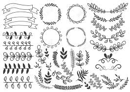 decorative elements set with floral ornaments wreaths