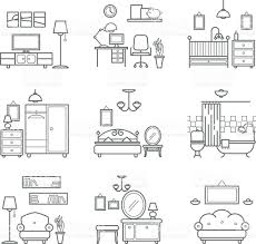 home room icons set interior design room types stock vector art