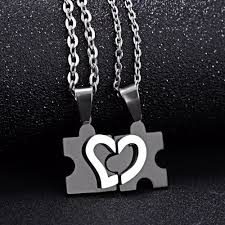 heart puzzle necklace images Charming splice heart pendant puzzle design stainless steel couple jpg