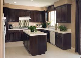 Brown Subway Travertine Backsplash Brown Cabinet by Limestone Countertops Dark Brown Cabinets Kitchen Lighting