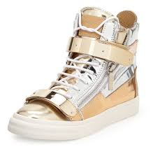 men u0027s giuseppe zanotti high top metalic sneakers in gold pictures
