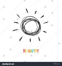 be happy greeting inspirational card doodle stock vector 388957546