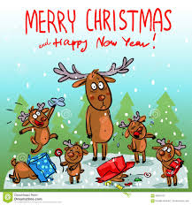 christmas card with reindeer stock vector image 58861522