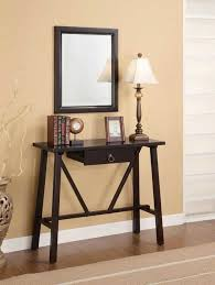 Pedestal Support Stylish Small Foyer Table Design Features Walnut Wooden Polished