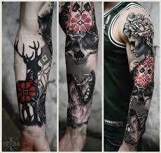 big half ornamental half 3d sleeve of mystic deer
