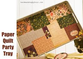diy paper quilt tray made with mod podge and scrapbook paper