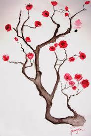 drawn sakura blossom simple pencil and in color drawn sakura