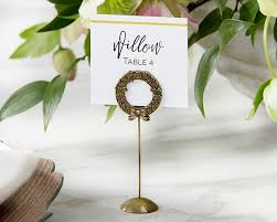 gold laurel wreath place card holders