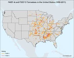 United States Storm Map by Violent F4 Ef 4 And F5 Ef 5 Tornadoes In The United States Since