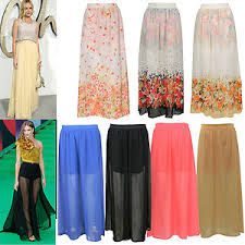 ladies chiffon pleated double layer elastic waist long maxi skirt