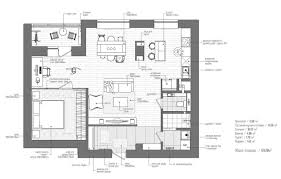 One Bedroom Apartment Plans Eclectic Single Bedroom Apartment With Open Floor Plan